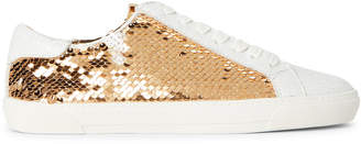 DKNY White & Gold Andi Sequin Low-Top Sneakers