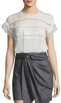 Isabel Marant Spike Lace-Trim Silk Top, Ecru