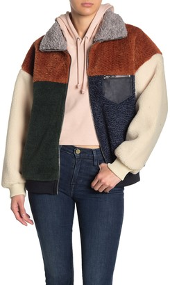 Blank NYC Colorblock Faux Shearling Faux Leather Trim Jacket