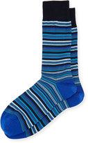 Bugatchi Stripe-Print Cotton-Blend Socks, Classic Blue