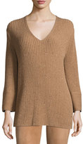 Lafayette 148 New York Long Ribbed V-Neck Sweater, Teak Multi
