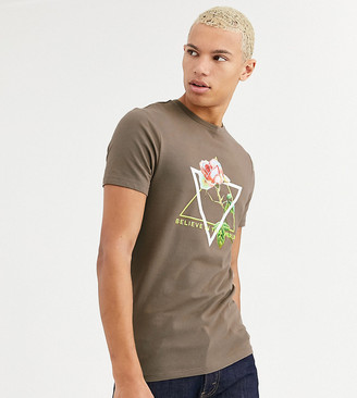 Asos Design DESIGN Tall skinny fit t-shirt with rose print and neon text-Brown