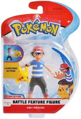 "Pokemon 4.5"" Feature Action Figure Ash with 2"" Pikachu"