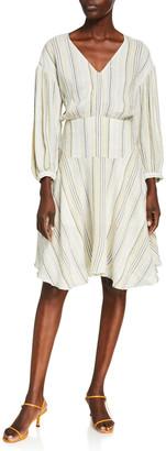 ATM Anthony Thomas Melillo V-Neck Striped Handkerchief-Hem Dress