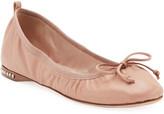 Miu Miu Flat Leather Ballet Flats with Jeweled Heel