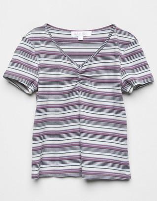 WHITE FAWN Cinch Stripe Girls Coral Top