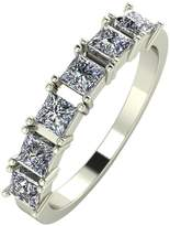 Moissanite 9ct Gold 1.05 Carat Princess Cut Six Stone Eternity Ring