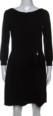 Louis Vuitton Black Wool and Mohair Blend Long Sleeve Dress M