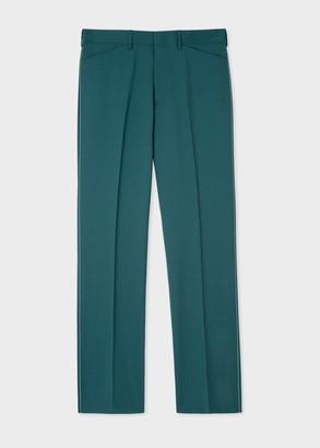 Men's Teal Wool-Mohair Trousers