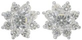 Sterling Women's Silver Button Earrings and - Silver/Clear