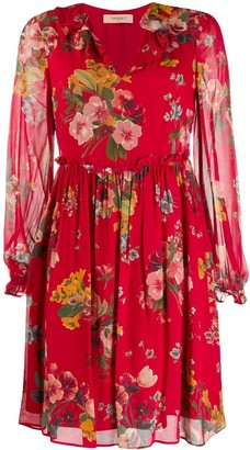 Twin-Set floral long-sleeve dress