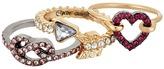 Betsey Johnson Pave Heart & Pretzel Ring Set