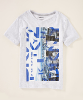DKNY White Heather 'DKNY' Skyline Crewneck Tee - Boys