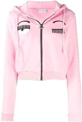 Chiara Ferragni winking cropped hoodie