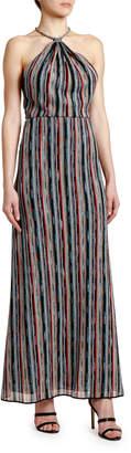 Missoni Optical-Striped Halter-Neck Maxi Dress