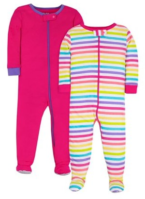 Little Star Organic Brights Baby Girls & Toddler Girl 1-Piece Snug Fit Cotton Footed Pajamas, 2-Pack (NB-5T)