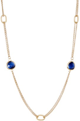 Rivka Friedman 18K Gold Clad 2 Row Navy Blue Cat's Eye Crystal Cable Link Necklace