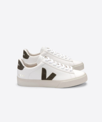 Veja Campo Leather Extra White Kaki Suede Sneakers Woman - 37 - UK 4