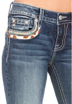 Miss Me Cow Hide Flap Yoke Trim Bootcut Jeans in Dark Blue (Dark Blue) Women's Jeans