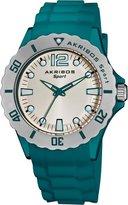 Akribos XXIV Women's AK536TL Essential Luminous Quartz Silicon Strap Watch