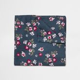 River Island MensNavy floral print pocket square