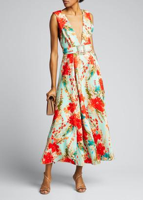 Badgley Mischka Floral Mikado Sleeveless Belted Dress
