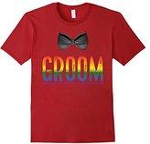 Men's Bachelor Party Shirt Gay Pride Rainbow Groom Bow Tie Medium
