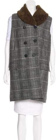 Yigal Azrouel Shearling-Trimmed Virgin Wool Vest