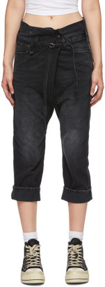 R 13 Black Staley Cross-Over Jeans