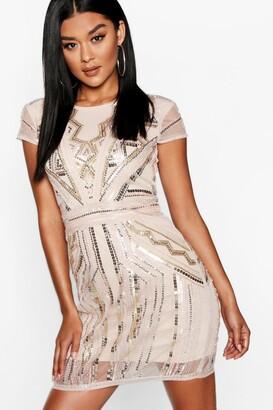 boohoo Boutique Sequin Cap Sleeve Shift Dress