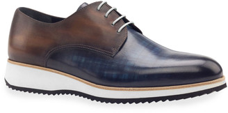 Ike Behar Men's Modus Two-Tone Patina Leather Derby Sneakers