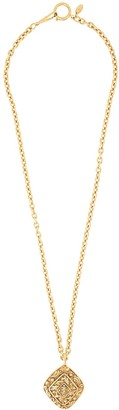 Chanel Pre Owned Embossed Medallion Long Necklace