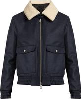 Ami Shearling-collar zip-through wool-blend coat