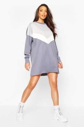 boohoo Chevron Side Stripe Oversized Sweat Dress