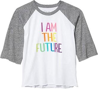 Chaser My Future Baseball Raglan Tee (Little Kids/Big Kids) (White/Streaky Grey) Girl's Clothing