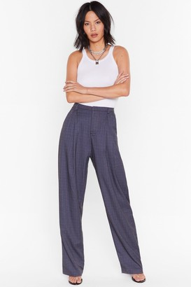 Nasty Gal Womens Checked Out of the Situation High-Waisted Trousers - Blue - L