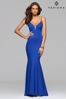Faviana 7902 Ponte illusion v-neck evening dress with side and back cutout and back ruffle