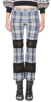 Alexander McQueen Celtic-Check Lace-Inset Kick Crop Pants, Multi