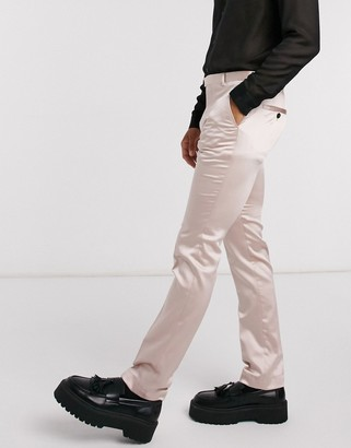 Twisted Tailor skinny tuxedo pants in blush pink