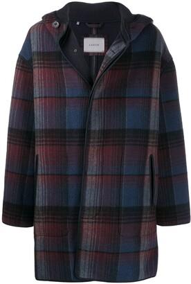Lanvin Oversized Hooded Checkered Coat