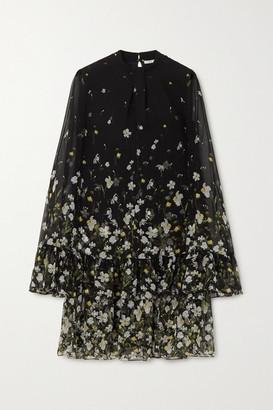 Erdem Concetta Tiered Floral-print Silk-chiffon Mini Dress - Black