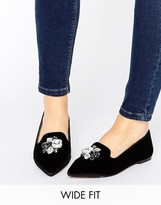 Asos LUSH Wide Fit Embellished Velvet Loafers