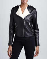 BCBGMAXAZRIA Leather Moto Jacket with Real Shearling