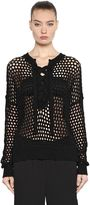 Designers Remix Boxy Open Knit Sweater W/ Lace Up Detail