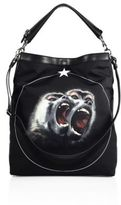 Givenchy Twin Monkey Graphic Calf Leather Trim Crossbody Bag