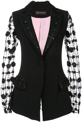 Christian Siriano Embroidered Sheer Sleeves Blazer