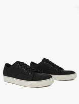 Lanvin Black Textured Leather Sneakers
