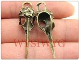 Nobrand No brand 3pcs 41*12mm antique bronze plated bird head skull charms