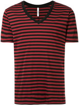 Attachment striped V-neck T-shirt