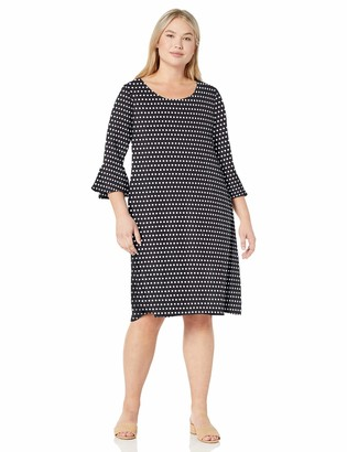 Star Vixen Women's Plus-Size Modest Soft Knit Bell-Sleeve Midi-Length Dress